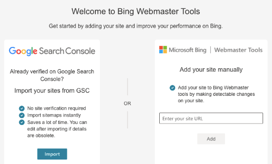 Create account in Bing Webmaster Tools