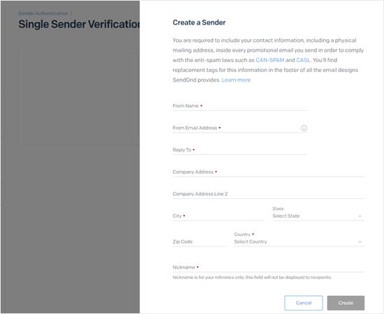 Creating the new single sender in SendGrid
