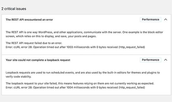 cURL error 28 shown in WordPress site health report