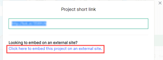 Click the link for embedding your code on an external site