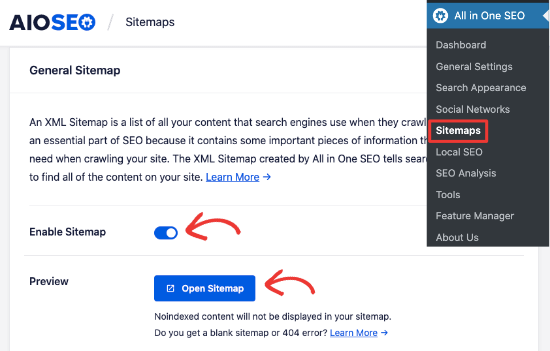 Enable sitemap in All in One SEO