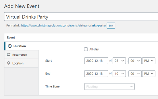 Enter a date and time for your event