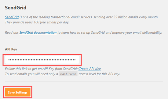 Entering your API from SendGrid into your WP Mail SMTP settings
