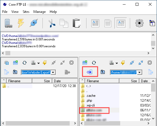 Exporting all your website files to your computer