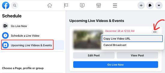 Get Facebook Live post url