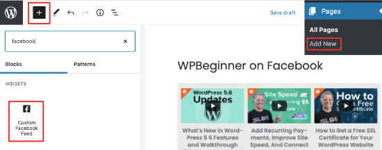 Add Facebook video feed in block editor