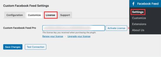 License settings in Smash Balloon
