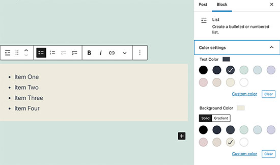 List block color settings
