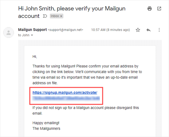 Click the link to verify your email address with Mailgun