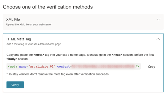 Copy meta tag to verify site in Bing Webmasters Tool
