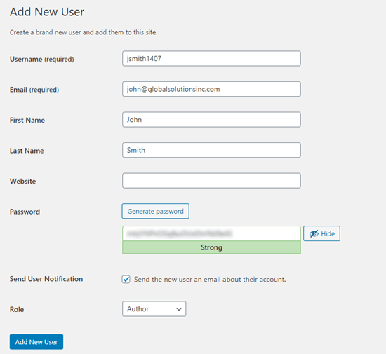 Entering the details for your new user in WordPress