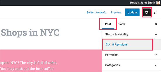 Open revisions for a post or page in WordPress