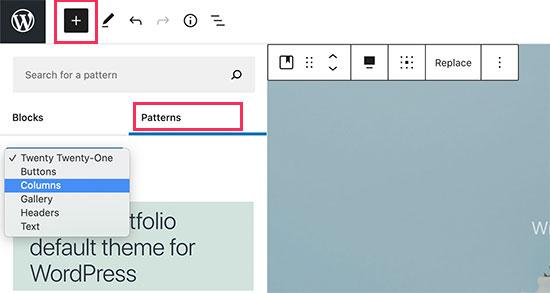 Pattern categories in WordPress 5.6
