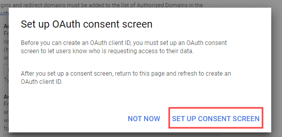 Setting up the consent screen