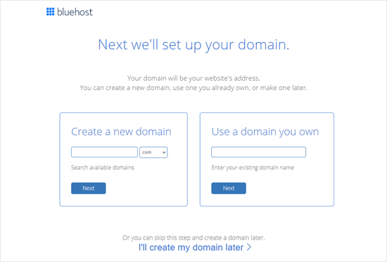 Create a domain name for your website