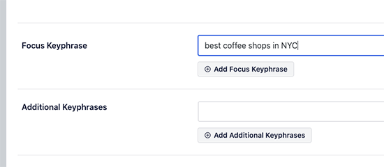 Setting focus keyword in All in One SEO