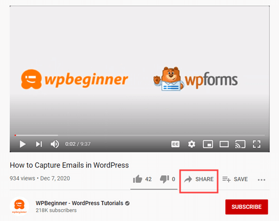 Clicking the Share button for your chosen YouTube video