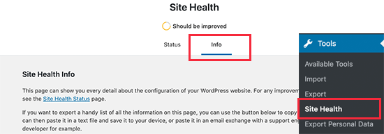 System information report under site health