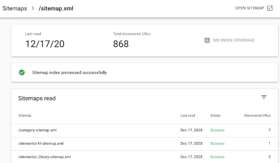 Sitemap stats in Google Search Console