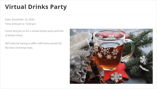 The page of details for the virtual drinks party