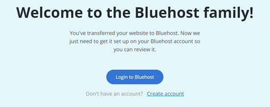 The welcome message after using the Bluehost Site Migrator