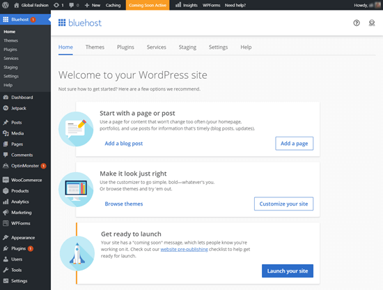 Your WordPress admin area