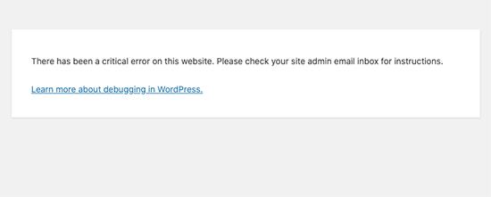 WordPress critical error message