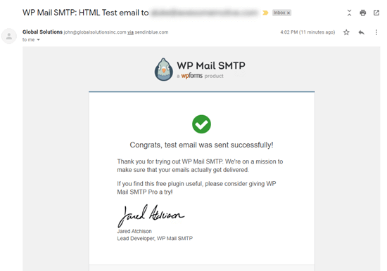 The test email from WP Mail SMTP in our inbox
