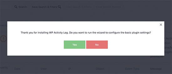 WP Activity Log set up wizard