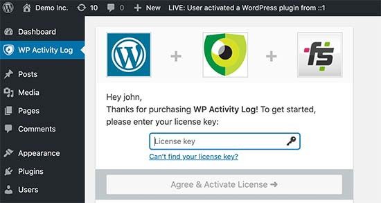 Add license key for WP Activity Log