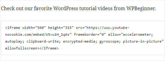 Pasting the YouTube HTML code into the iFrame block