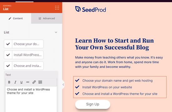 A list block in SeedProd