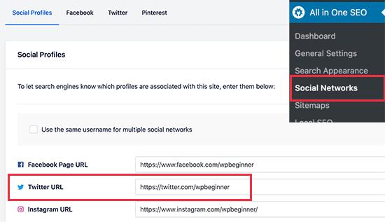 Add your social media profile URLs