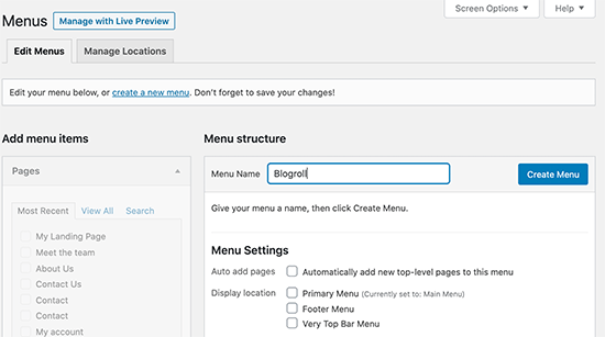 Creating the blogroll menu