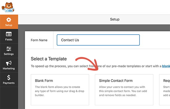 Create new contact form