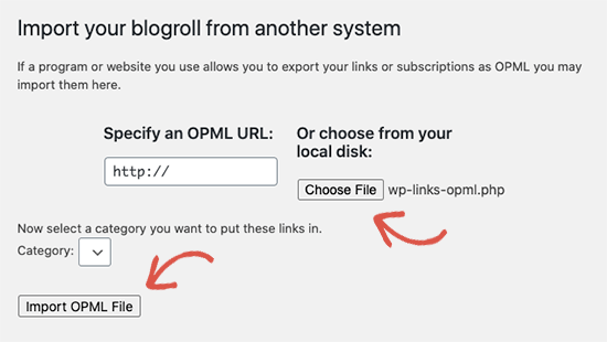 Importing blogroll