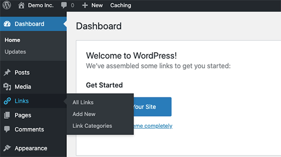 Link manager enabled in WordPress