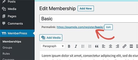 Membership sign up link