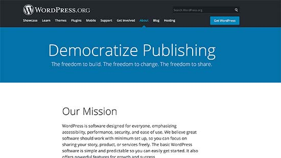 WordPress mission is to democratize publishing