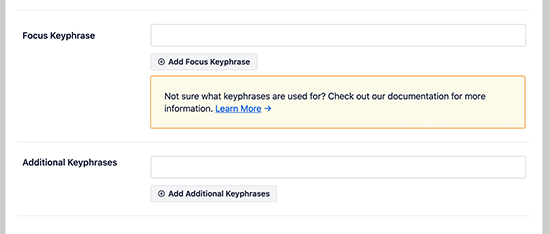 Add focus keyword for your post or page
