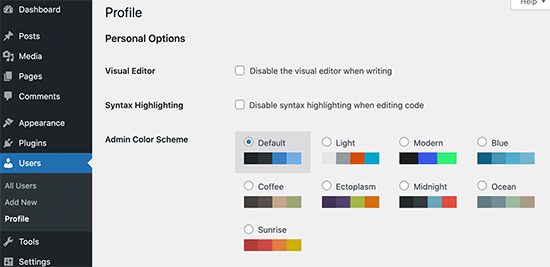 Admin color scheme palettes in WordPress | Blog Master Tips