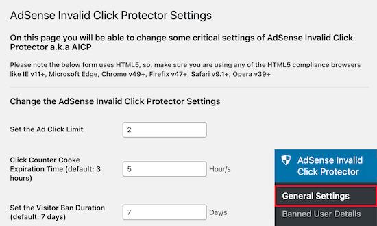 AdSense invalid click protector settings