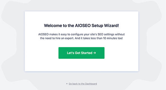 AIOSEO set up wizard