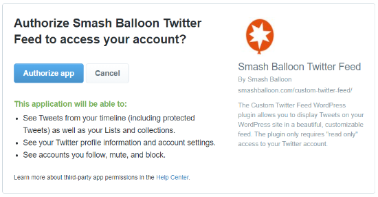 authorize smash balloon twitter feed access