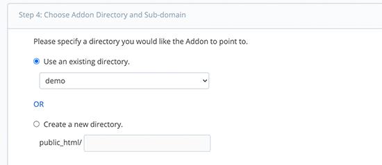 Choose directory