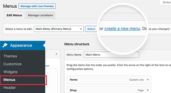 Create a new menu to be used on mobile devices