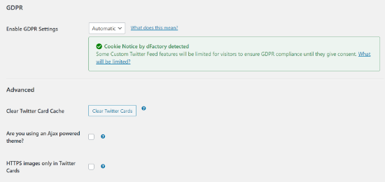 custom twitter feeds advanced settings