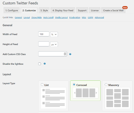 custom twitter feeds customize options