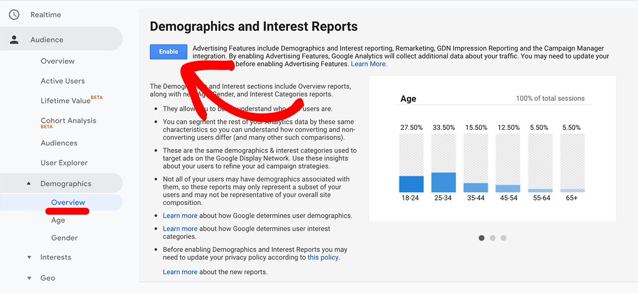 Turn on demographics reporting in Google Analytics