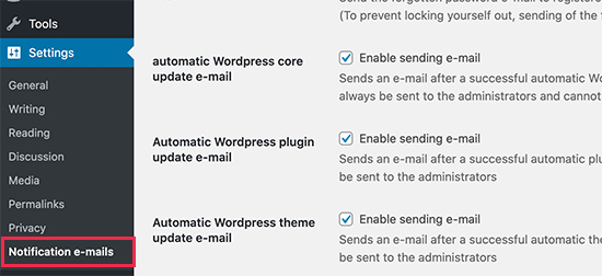 Disable email notifications